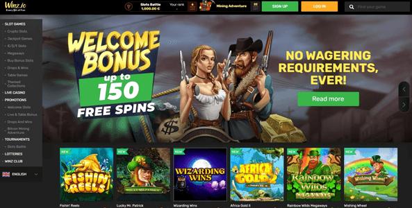 winz.io casino website screen