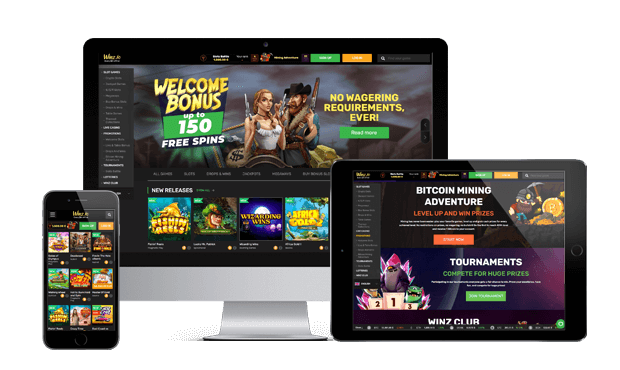 winz.io casino website screens