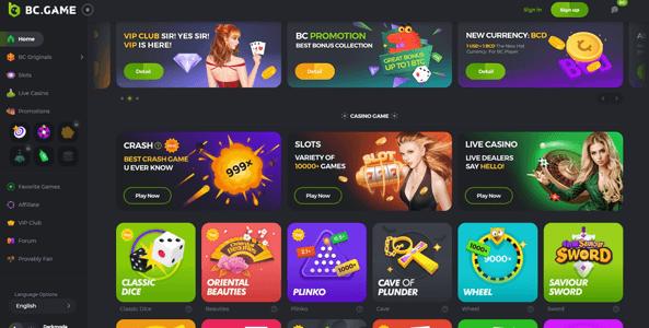 bcgame website screen new