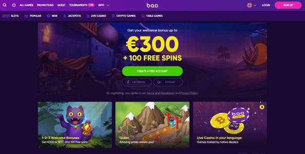 bao casino website screen