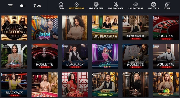 betflip live casino games