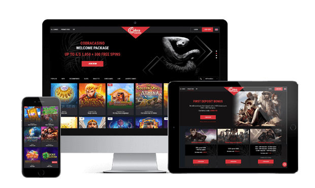 cobra casino website screens