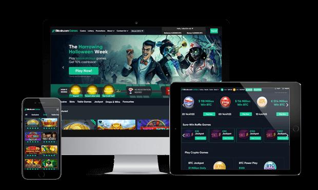 games.bitcoin.com website screens