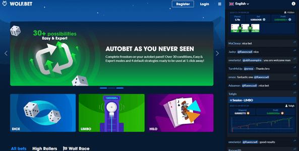 wolfbet website screen