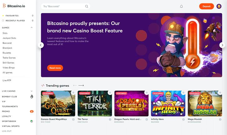 bitcasino website screen
