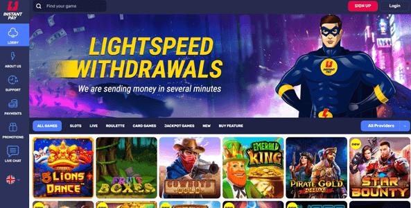 instanpay casino website screen