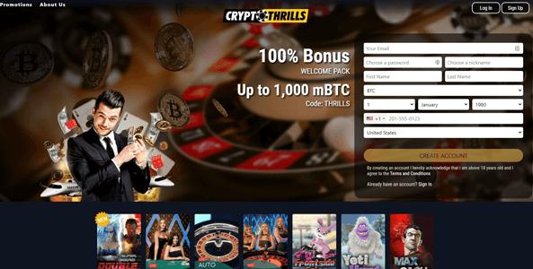 cryptothrills website screen