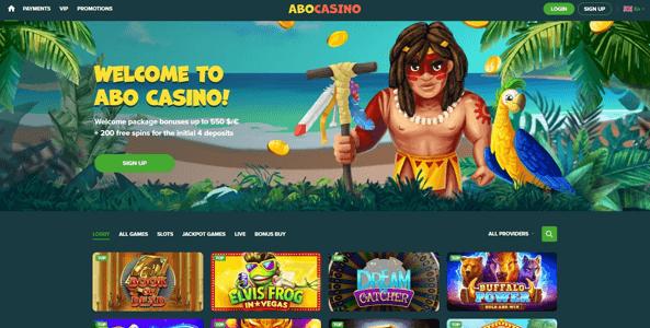 abocasino website screen