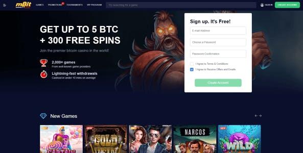 mbit casino website screen