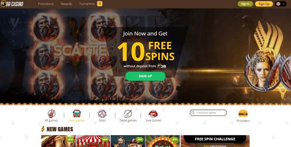 bob casino website screen