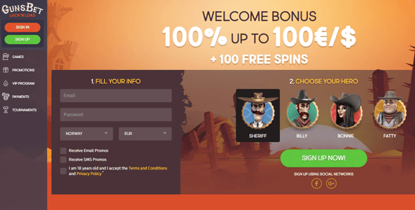 gunsbet casino website screen