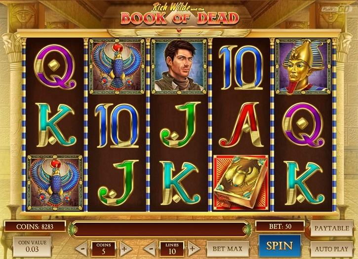 Book of Dead slot screen