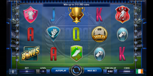 Football Champions Cup slot screen