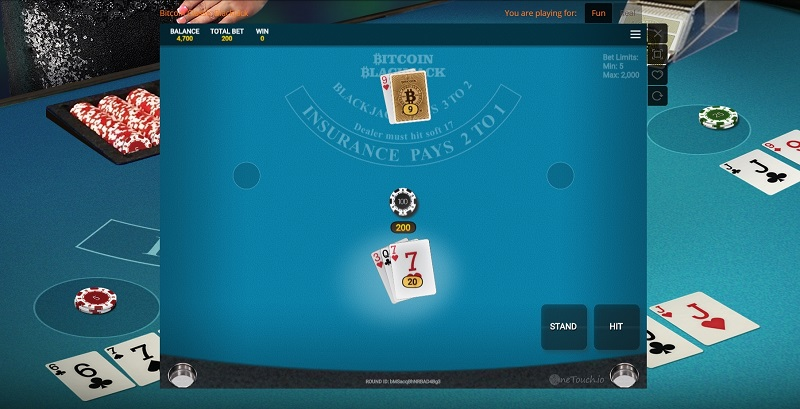 onetouch blackjack screen