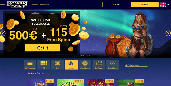 konung casino website screen