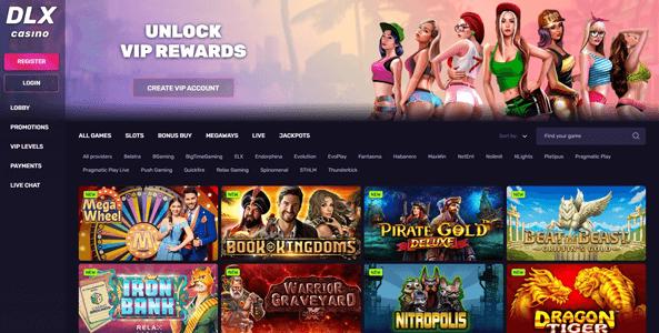 dlx casino website screen