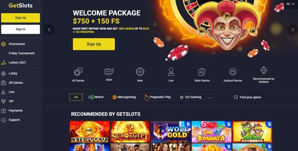 getslots casino website screen