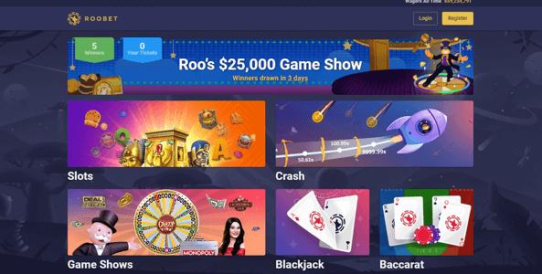 roobet casino website screen