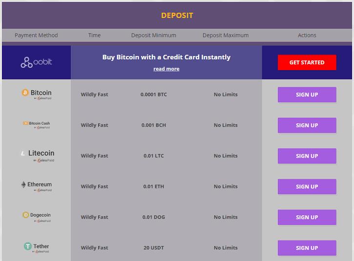 cryptowild casino deposits