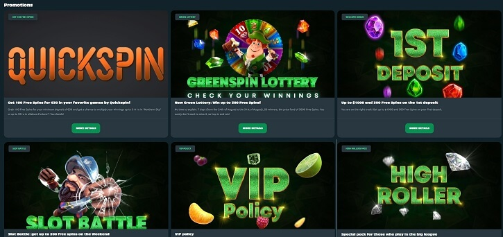 greenspin casino promotions