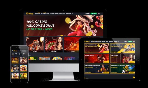 betflip casino website screens