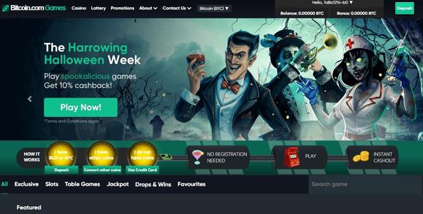 games.bitcoin.com website screen