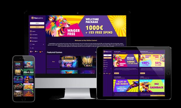 hazcasino website screens