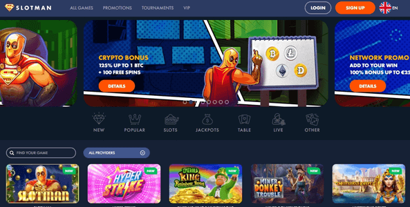 slotman casino website screen