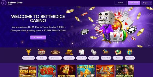 betterdice casino website screen