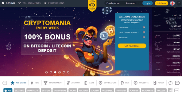 powercasino website screen