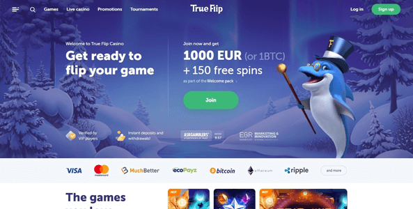 trueflip casino website screen