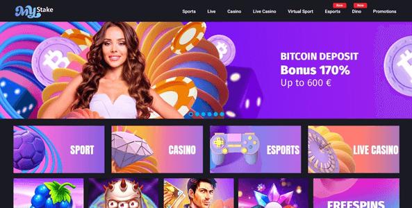 mystake casino website screen
