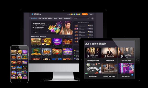 rocketpot casino website screens
