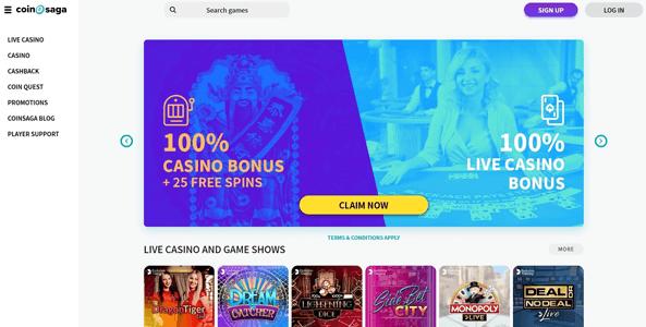 coinsaga casino website screen