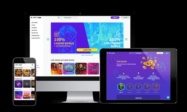 coinsaga casino website screens