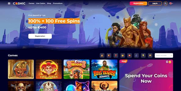 cosmicslot casino website screen