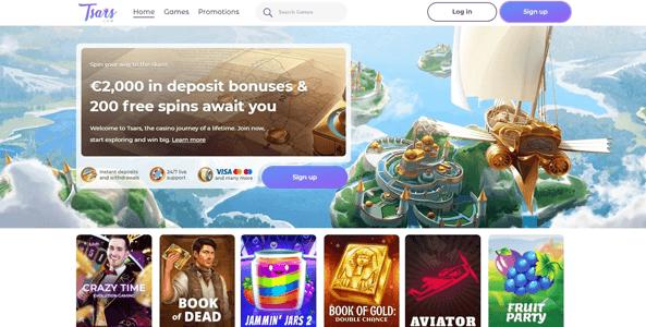 tsars casino website screen