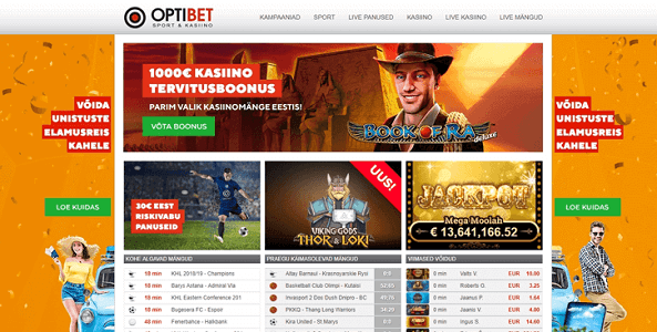optibet kasiino website screen