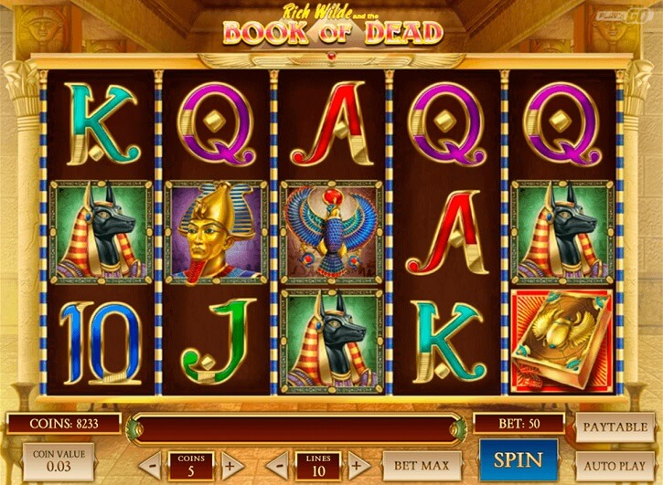 book of dead slot screen