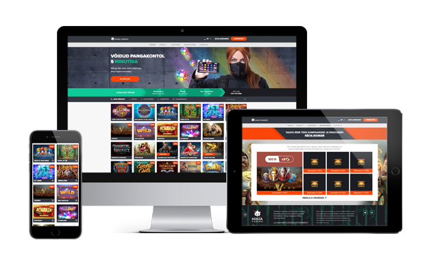 ninja kasiino website screens