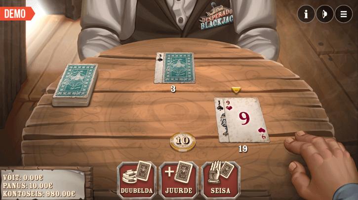 single deck desperado blackjack game screen