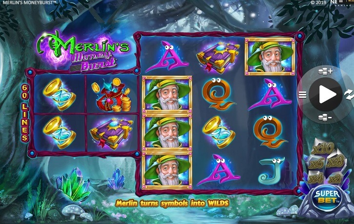 merlins money burst slot screen