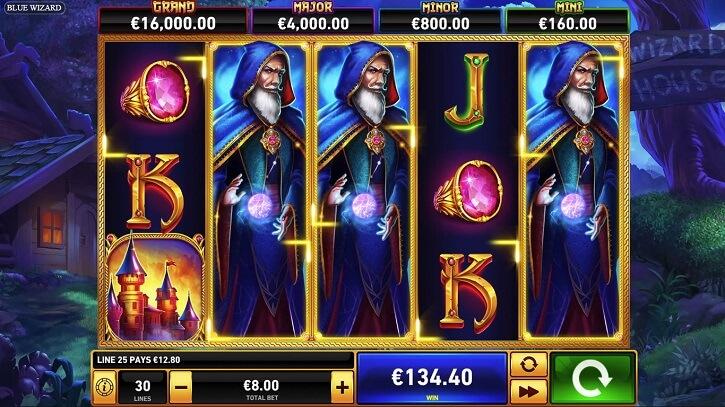 blue wizard slot screen
