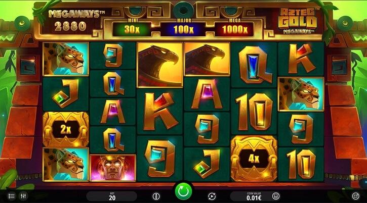 aztec gold megaways slot screen