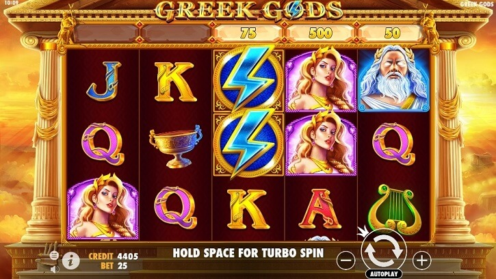 greek gods slot screen