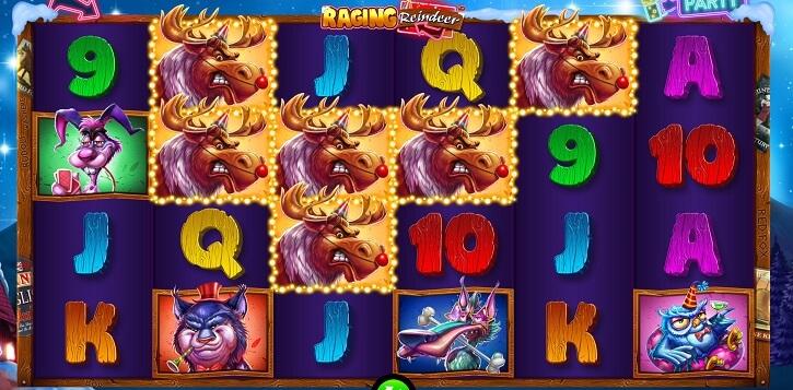raging reindeer slot screen