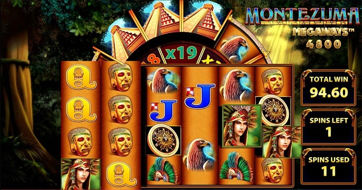 montezuma megaways slot screen