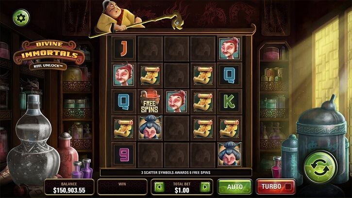 divine immortals slot screen