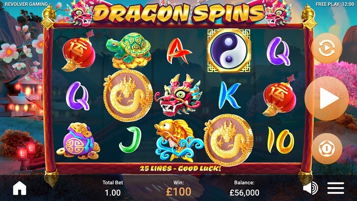 dragon spins slot screen
