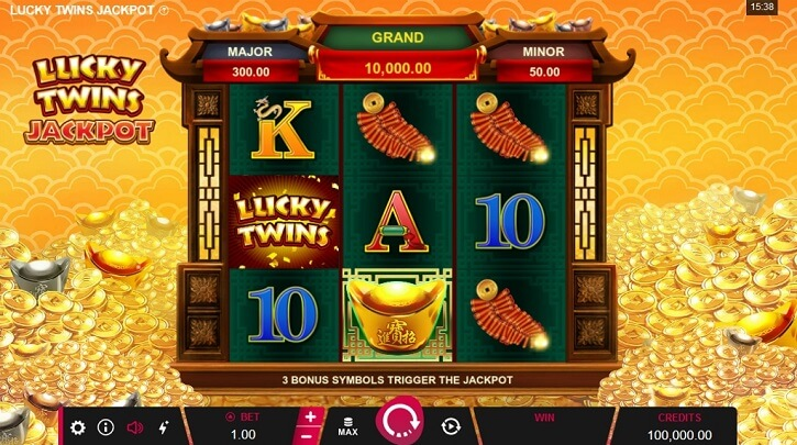 lucky twins jackpot slot screen